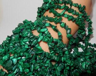 "Malachite Chip beads 32"" strand"