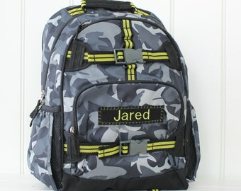 Large Backpack With Monogram (Large Size) Pottery Barn -- Gray Shark Camo