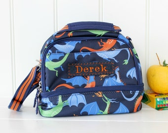Personalized Lunch Bag -- Pottery Barn Dual Compartment  -- Navy Dragon