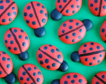 Royal Icing Ladybugs- Small Cookie, Cake, Cupcake, Cakepop Topper- Edible Decorations (12)