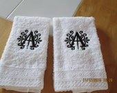 Hand Towels with beautiful monogram- Lace trim-set of two