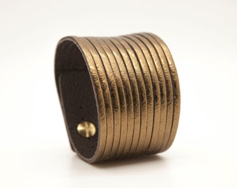 Gold Leather Cuff, Metallic Leather Cuff Bracelet  - Strands
