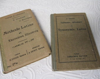 FRENCH TEXT BOOKS - Lot of 2 Latin Course Language School Books 1924