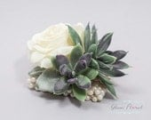 Succulent & Rose Wrist Corsage. Wedding Flower- Prom Corsage- Real Touch Corsage- Wrist Corsage. natural white, green, purple, fuzzy