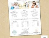 Photography Price List Template - Pricing Guide - Sell Sheet - Photoshop Template INSTANT DOWNLOAD