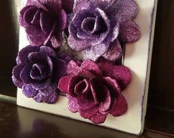 Glitter Rose Art, Purple Mixed Media Original Modern Artwork, Roses, Small Box Frame