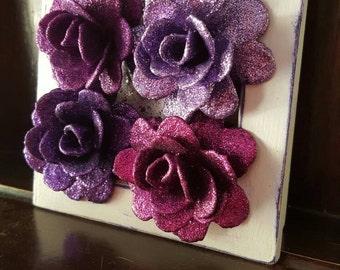Glitter Rose Art, Purple Mixed Media Original Modern Artwork, Roses, Small Box Frame