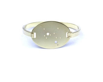Sagittarius High Polished Raw Brass Zodiac Constellation Oval Bracelet