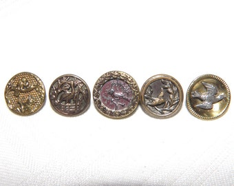 Antique Metal Buttons with Birds Mix of 5 Victorian Picture Buttons