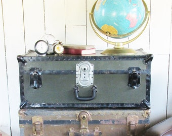 1930s-40s Samson Steamer Trunk - WW2 Military Footlocker