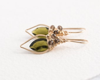 Olive Quartz Leaf Hoops