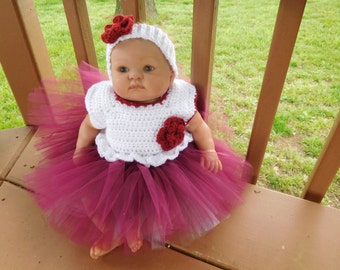 Crochet Tutu Dress in Off White with Multicolor  Tulle Skirt for 0-3 Month Baby Girl or Reborn Doll