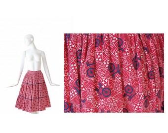 1950s Novelty Print Skirt • 50s Full Skirt • Antique Looms • Red•  Small S