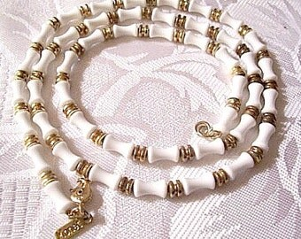 Monet White Bone Tube Necklace Gold Tone Vintage Barrel Ribbed Spacers 24 Inches Signed Hangtag Lobster Claw