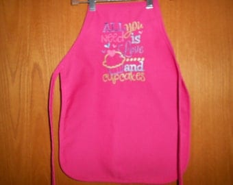 All you need is Love and Cupcakes  Child's  Apron