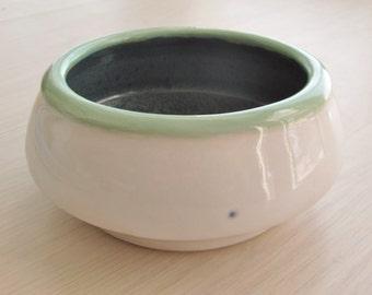 Pottery Bowl Handmade Ceramic Stoneware White with Turquoise Rim Blue Interior Stoneware READY TO SHIP  Dishes Housewares