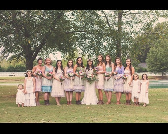 Custom Bridesmaid dresses, mix and match, mismatched, dress, sherbert, wedding, vintage, lace, handmade, slip, cap sleeves, strapless