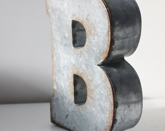 2 Large Metal Letter Zinc Steel Initial Home Room Decor Diy Signs Letter Vintage Style Gray