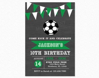 Soccer Birthday Party Invitation, Futbol Birthday Party Invitation, Green, Soccer Boy, Personalized, Printable and Printed