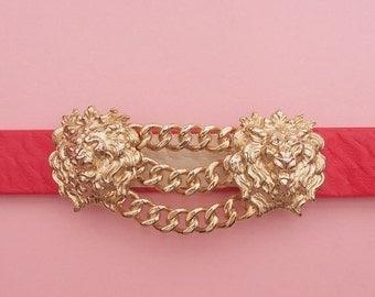 SALE 80s Lion Belt // MiMi Di N Belt // Gold Toned Belt Buckle // Baroque Belt // Glam Belt // Red Belt // Vintage belt