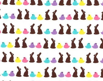 Michael Miller Easter Gnomes Bunny Bites White Fabric - 1 yard