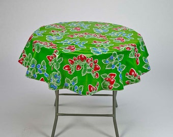 Round Strawberry Green Oilcloth Tablecloth by Freckled Sage