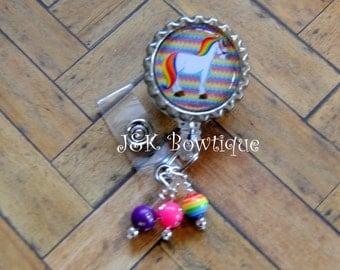 Unicorn....Rainbow....Badge Reel....Lula Roe....Chevron back ground