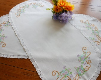 Pair of Vintage Hand Embroidered Dresser Scarves Dresser Doilies Table Runners
