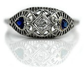Antique Engagement Ring Mine Cut Diamond & Sapphire Ring Unique Art Deco Filigree Ring 18K White Gold Filigree Diamond Wedding Ring Size 7!