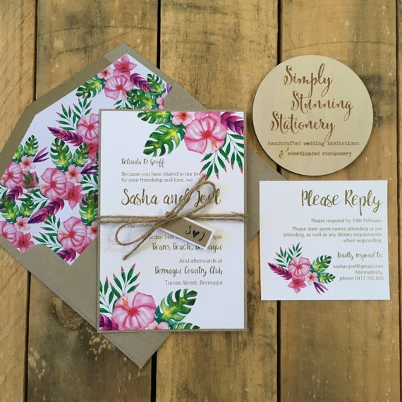 Items Similar To Tropical Wedding Invitations