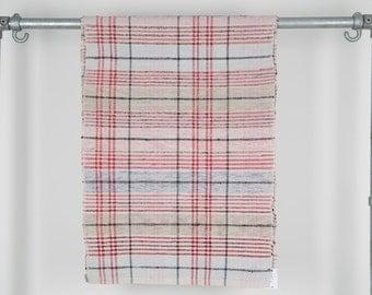 Rag Rug. Vintage Hungarian Hall Runner . Pink Red Blue Black Stripe. Long Corridor Rug.