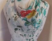 "Vintage Retro White Floral Rayon Scarf // 30"" Inch 76cm Square"