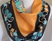 "Sant Angelo // Lovely Black Orange Silk Scarf  // 24"" Inch 56cm Square"