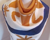"Vera Neumann // White Orange Silky Scarf  // 27"" Inch 69cm Square"