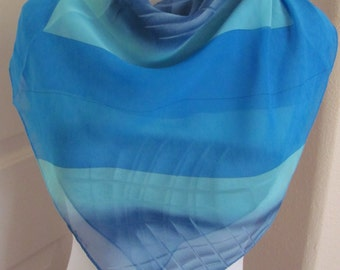 """Ladies Beautiful Blue Sheer Soft Poly Scarf - 26"""" Inch 66cm Square"""
