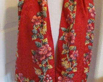 "Lovely Red Floral Jacquard Soft Silk Scarf // 11"" x 52"" Long"