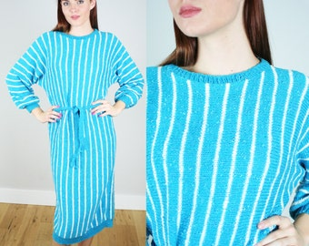 Vintage 1980s Striped Sweater Dress