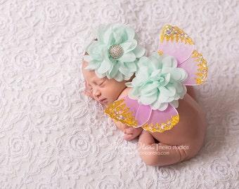 Lavender and Aqua Wing Set, Newborn Wings, Baby Girl Prop, Newborn Photo Prop,  Wings and Headband, Baby Wings
