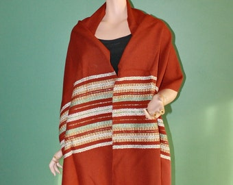 Vintage Wool Shawl Stole Wrap Hand Woven Signed