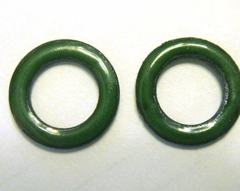 Enamel Copper Washers Two shades of Green