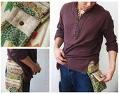 Festival Waist Bag / Hip Bag in Earthy Leaf Print Graphic, BLUE BROWN Cotton and Hemp Combination
