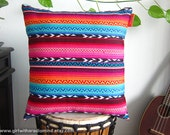 Mexican Pillow Aztec Pink Turquoise -  Navajo Stripe Cushion Cover Home Deco