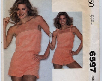 Vintage Misses' Playsuit - 90-Minute Fashion Sewing Pattern - McCall's 6597 - Size Small (Sizes 10 - 12) UNCUT