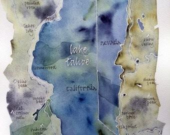 Watercolor Map of Lake Tahoe, original, signed 11x14 in. painting