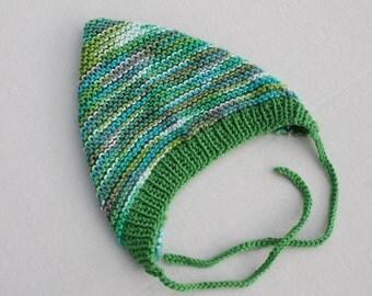 Hand Knit Pixie Baby Bonnet. Cotton Baby Bonnet. Multicolored Cotton Baby Pixie Hat.