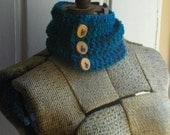 The Peacock. Real Teal Neck Warmer Cowl Neck Wrap Bohemian Folk Gypsy genuine Thorn Tree wooden wood rustic woodland Peacock Eye Buttons