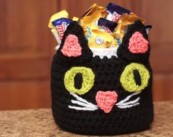 Halloween Crochet Patterns, Crochet Black Cat Pattern, Halloween Candy Bowl (59)
