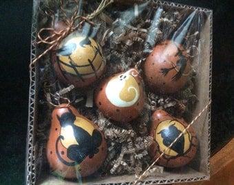 Set 5 Halloween dried Gourd Ornaments Hand Painted Folk Art set 48