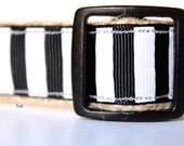 Black and White Stripe Dog Collar, Wedding Dog Collar, Adjustable Dog Collar, Stripe Collar
