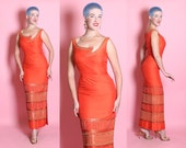 STUNNING 1950's Vibrant Tangerine Orange Thai Silk Extreme Hourglass Evening Gown w/ Hand Beading & Cut Out Neckline by Bruce Arnold - M